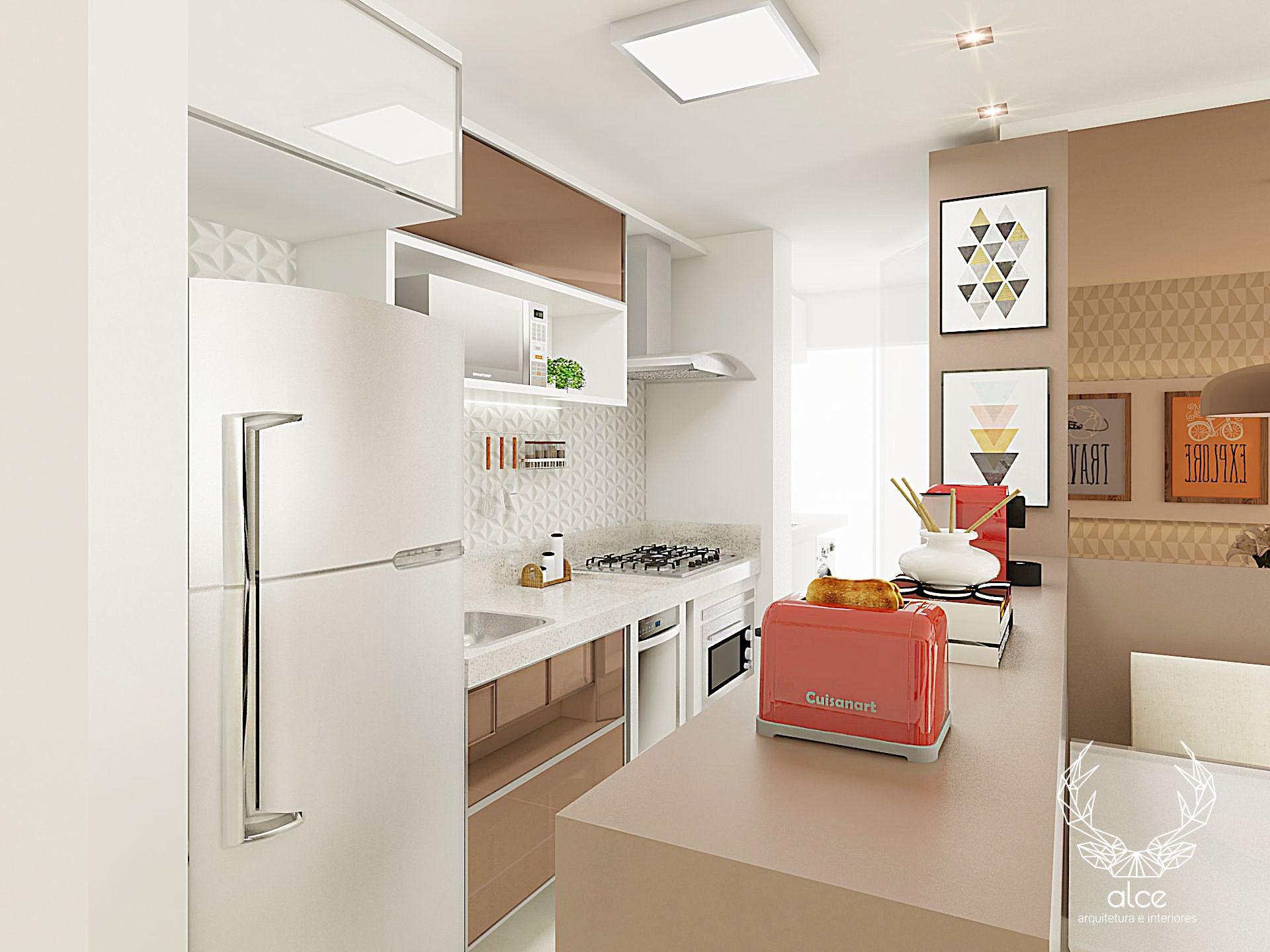 Cozinha Morumbi Apartamento Moderninho Com Cores Femininas Cozinha