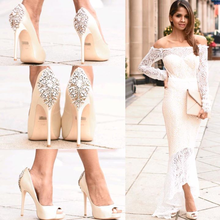 Marchesa Gown by Elle Zeitoune Designs White heels by Badgley Mischka at Zappos.com #whitedress #heels #shoes #losangeles #badgleymischka #zappos