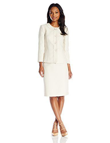 Le Suit Womens 3 Button Tweed Collarless Skirt Suit Set Butter ...