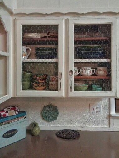 Farmhouse Kitchen Distressed Cabinets Open Shelving Chicken Wire Fork And Spoon Handles Diy Kitchen Re Trendy Farmhouse Kitchen Diy Kitchen Renovation