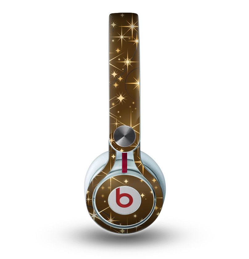 The Golden Glowing Stars Skin for the Beats by Dre Mixr Headphones