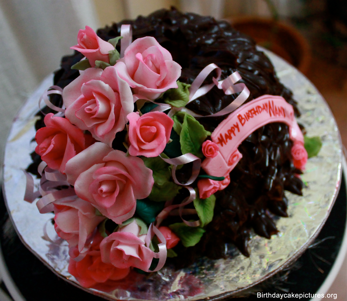 Chocolate birthday cake with flowers birthday cake pinterest chocolate birthday cake with flowers dhlflorist Image collections
