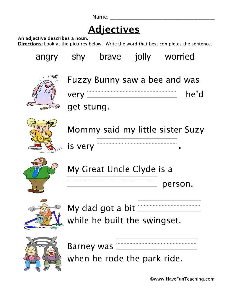 Adjectives Worksheet Feelings Describing words