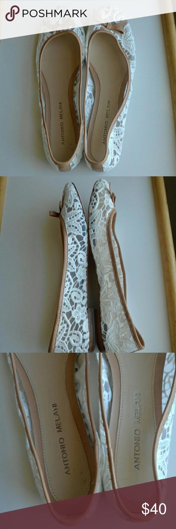 Ladies' Antonio Melani Shoes - NWoT White Antonio Melani lace with brown leather trim. Great for cas...