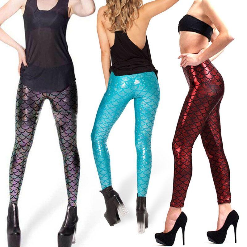 ee5bfc3f4a8173 2018 New Top Sale Black Milk Digital Print Women Mermaid Fish Scale  Leggings Plus Size Metallic Geometric Stretch Legging Pant