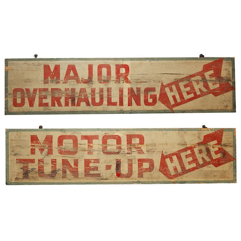 Pair of Early Auto Mechanic Shop Signs | Tune-Ups | Pinterest