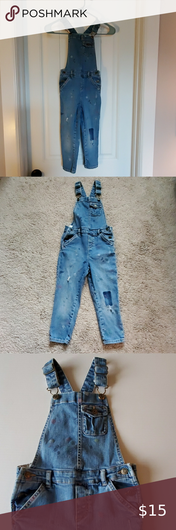 Carters Paint Splattered Distressed Overalls 5T Carters Paint Splattered Distressed Overalls  Size 5T Lightly distressed with scattered spots of paint fron and back Very gently used, no flaws  R16 1.26/065 15 Carter's Bottoms Overalls