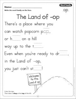 The Land Of Op Word Family Op Word Family Poetry Page Word Families Word Family Activities Kindergarten Word Families