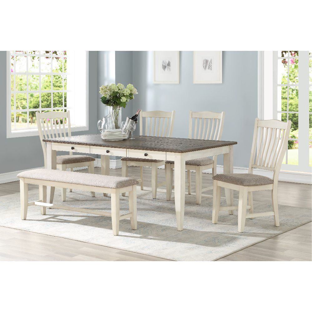 White And Gray 6 Piece Dining Set Grace White Dining Set