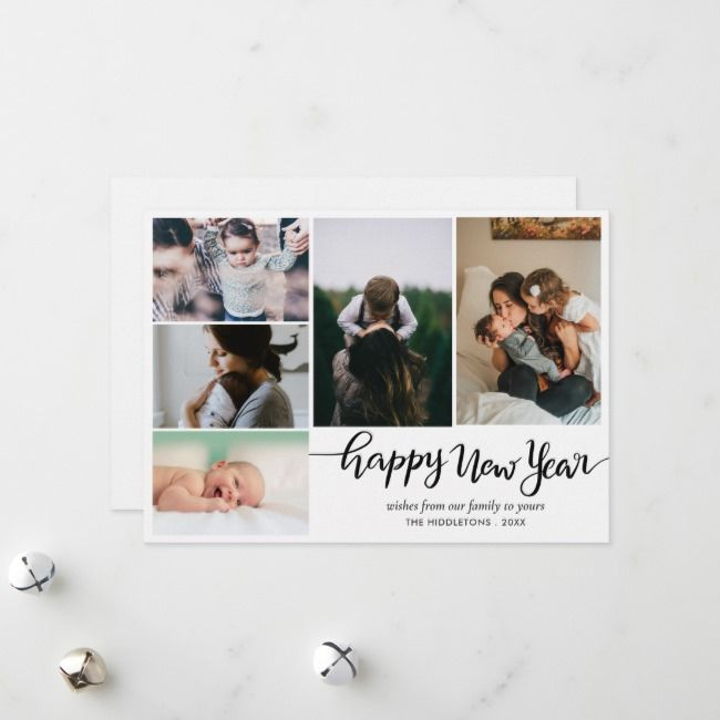 Modern Happy New Year Script Family Photo Holiday Card