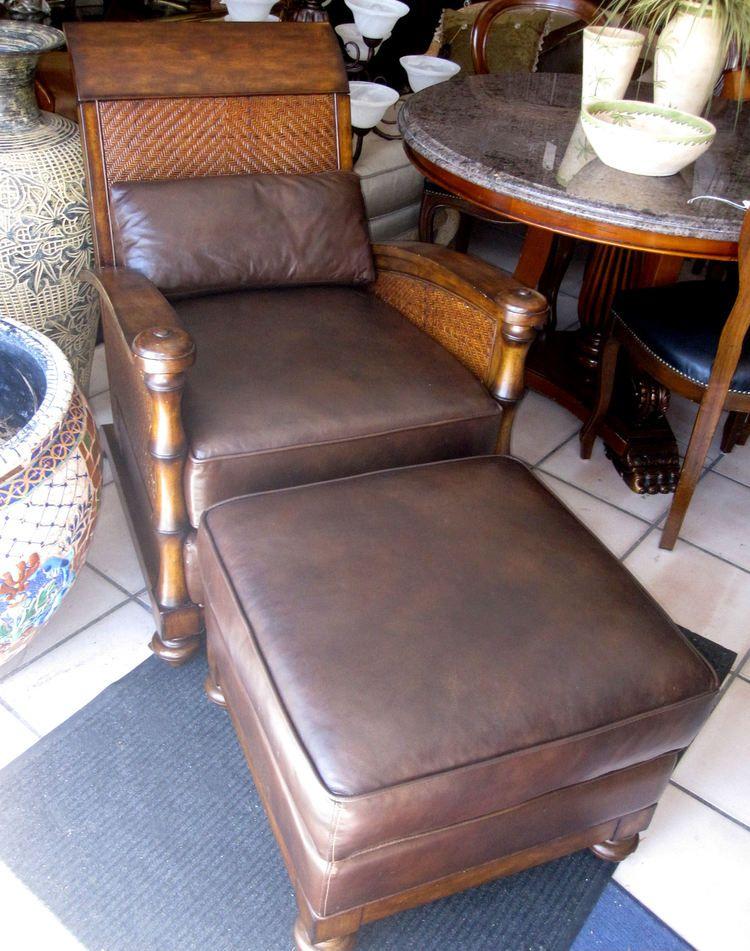 Lexington Tommy Bahama Rattan Amp Leather Chair W Ottoman