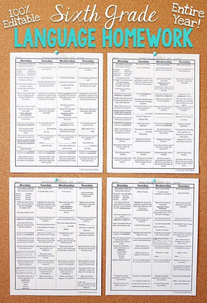 6th Grade Language Spiral Review   6th Grade Language Arts Homework ...