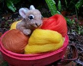 Needle Felted Baby Rabbit, Wool Soft Sculpture of Baby Bunny