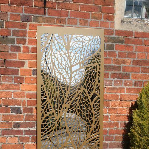 Leaf-pattern-outdoor-garden-mirror-in-gold-colour | Decorative ...
