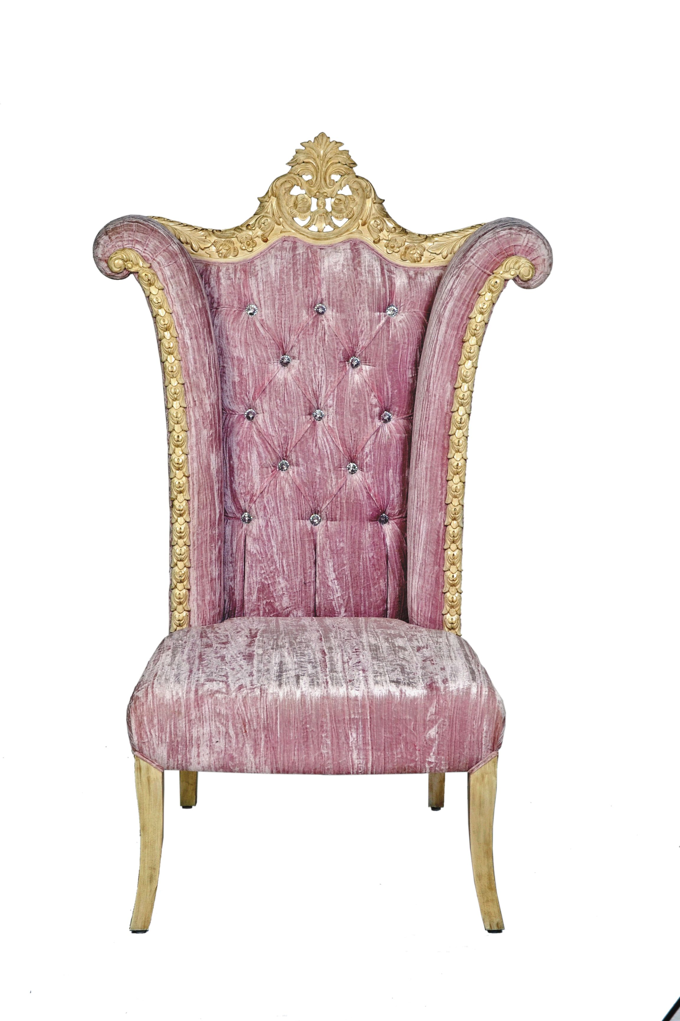 Antique princess chair - High Back Taj Chair In Royal Style Solid Hand Carved Rose Wood With Detailed