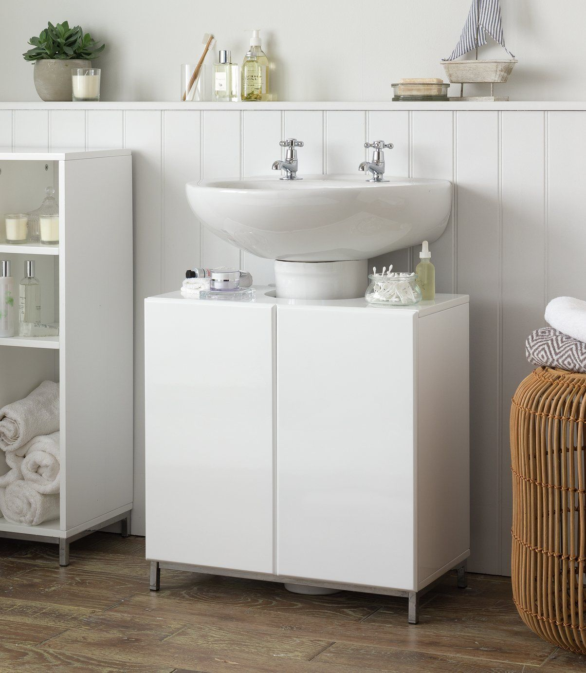 Buy Argos Home Gloss Under Sink Unit White Bathroom Shelves And Storage Units In 2020 Sink Units Under Sink Unit Under Sink