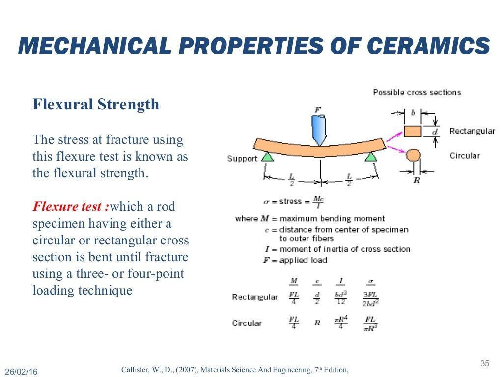 Mechanical properties of ceramics flexural strength the