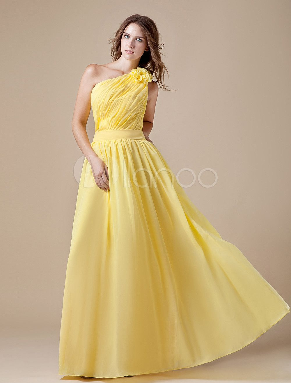 A-line Daffodil One-Shoulder Floor-Length Bridesmaid Dress with Gorgeous Cascading Ruffle