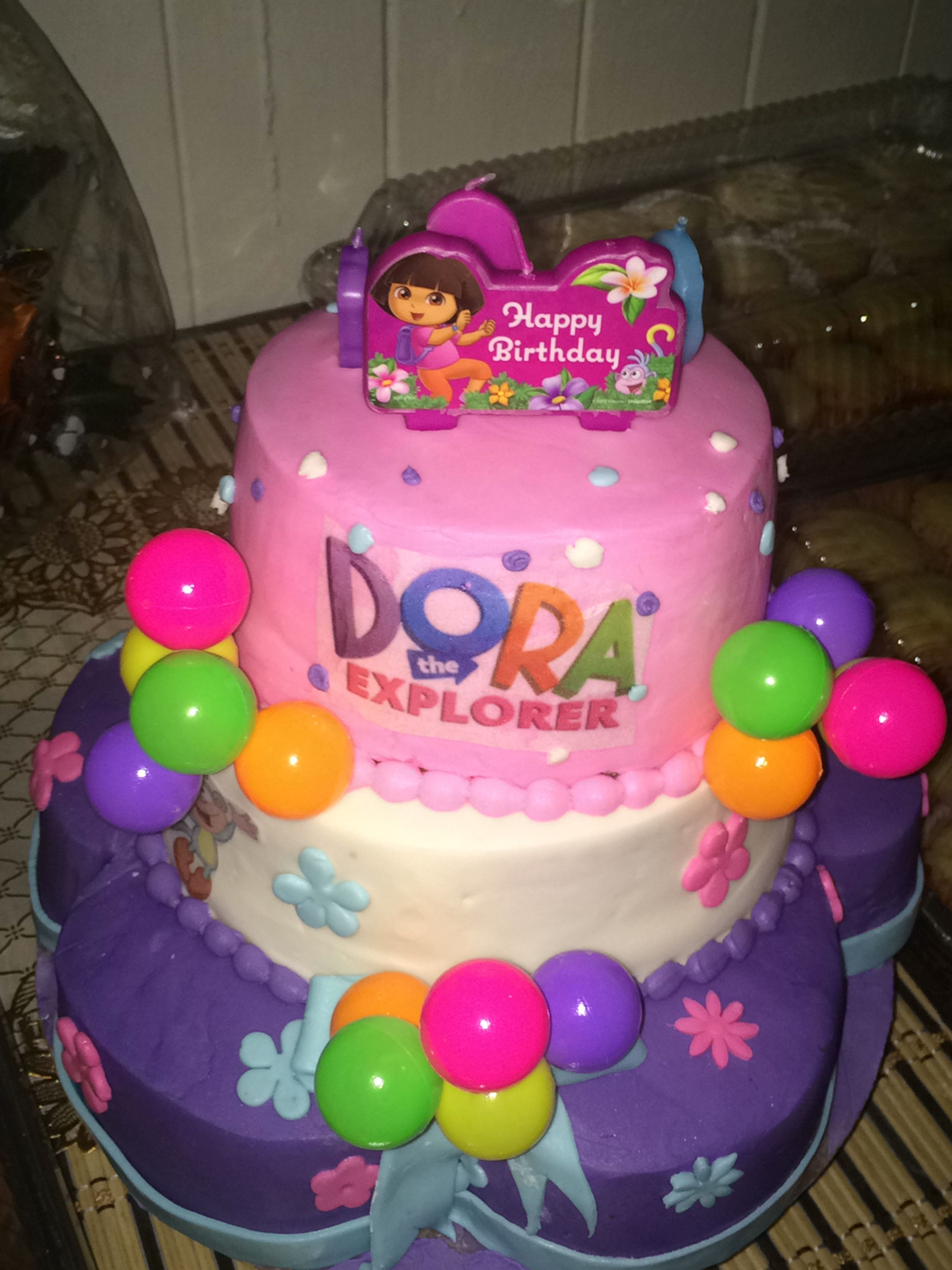 Tremendous Fun Dora Cake Colors Girl Happy Birthday With Images Birthday Cards Printable Benkemecafe Filternl