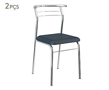 Jogo de Cadeiras Gulive - Azul e Cromado