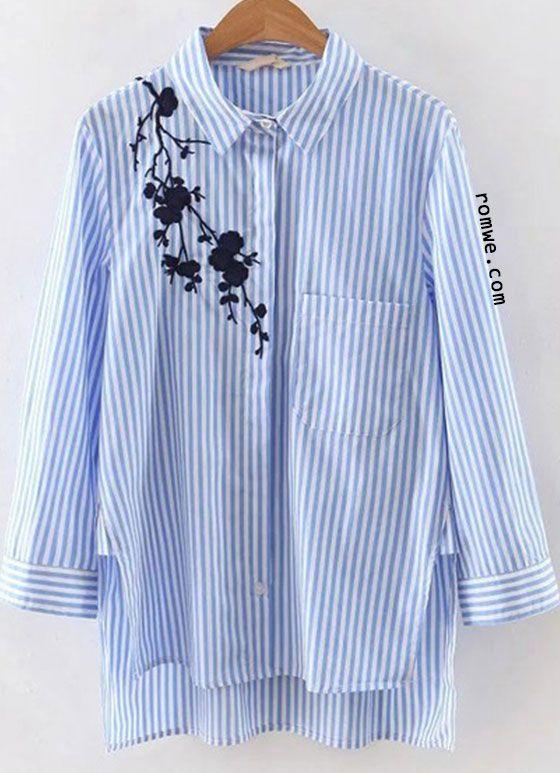 93cfc43c45 Blue Stripe Embroidery High Low Blouse   Romwe Women Style ...