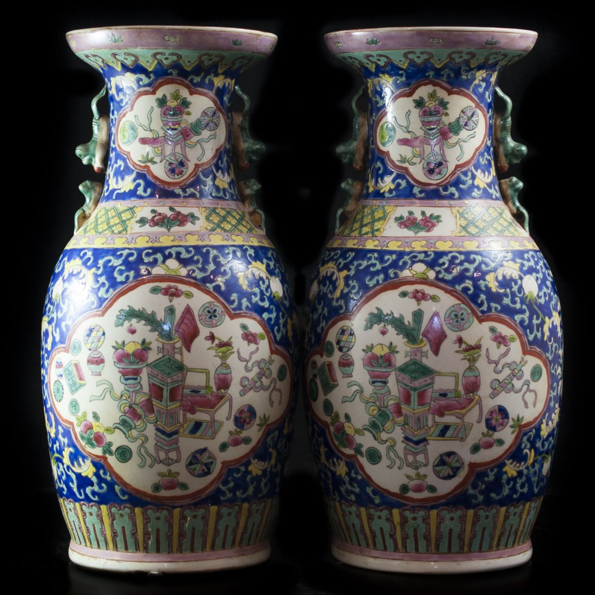 Descriptionpair of antique chinese porcelain vases the body descriptionpair of antique chinese porcelain vases the body comprises of renderings of elegant vases with bouquets of flowers surrounded by fruits floridaeventfo Choice Image