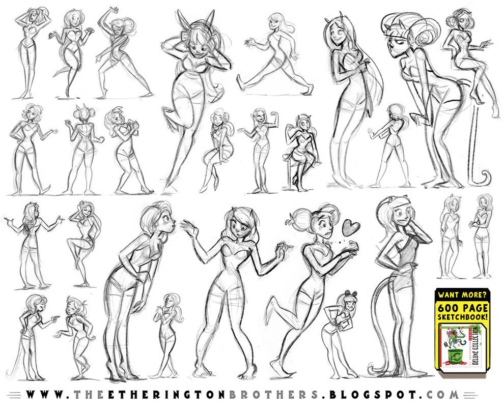 Female Character Pose and Gesture Sheet 1 by