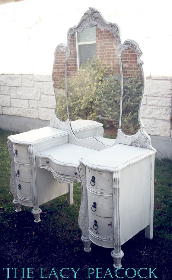 White Antique Vanity / Dressing Table with Triple Mirror. Great for  accessible vanity in the bath - Custom Order For Jill White Antique Vanity / By TheLacyPeacock