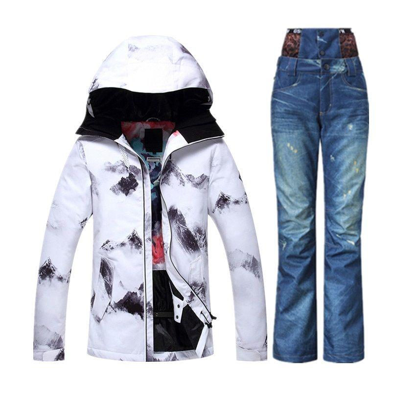 New 2018 GS Brand Ski Suit Female Winter Snowboard Jacket Denim ...