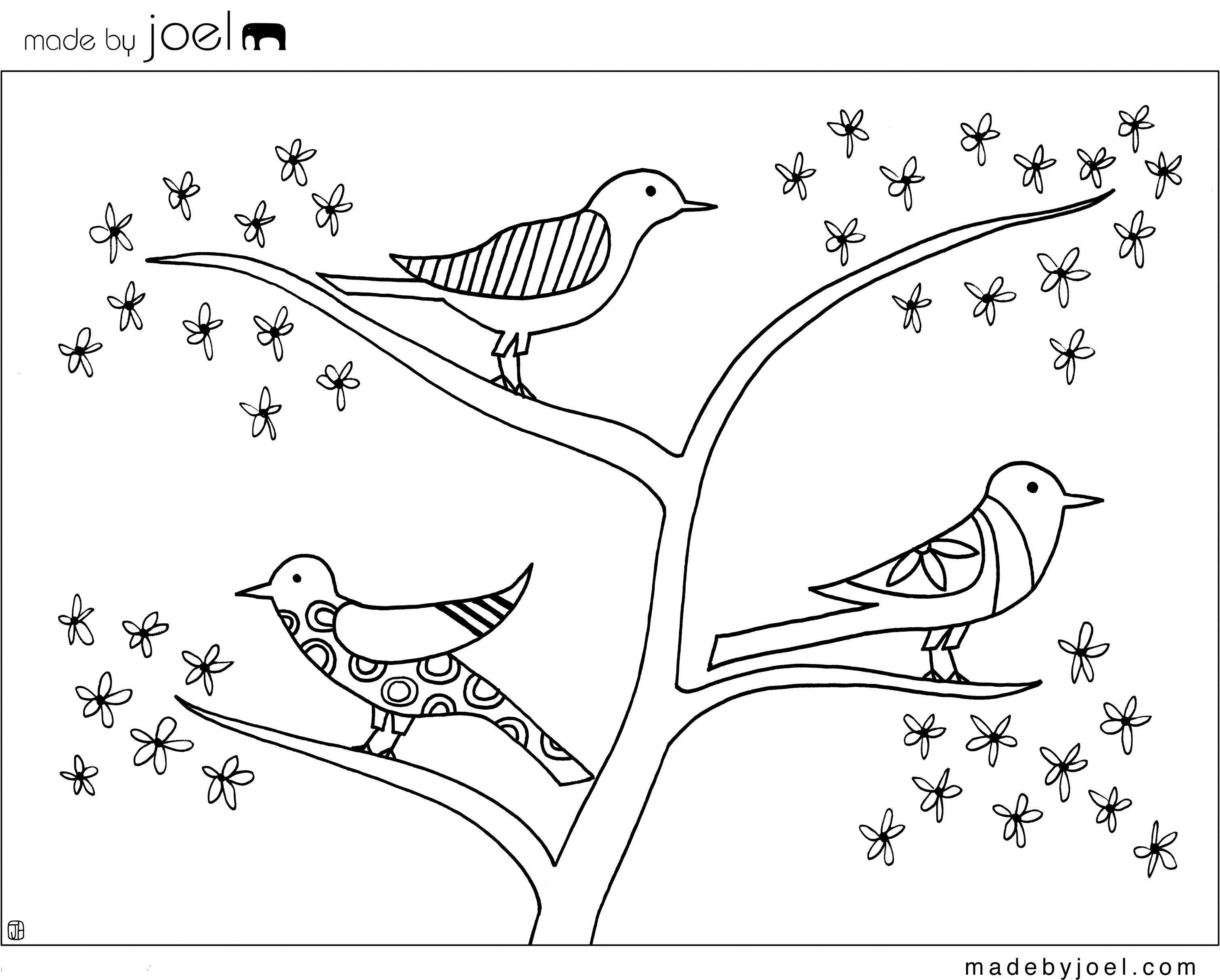 Made By Joel Flower Tree Birds Coloring Sheet