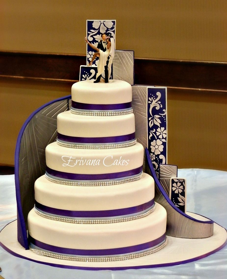 image of a stairs in wedding cake purple blue and white damask wedding cake not as much 16312