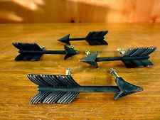 4 Black Feather Arrow Cabinet Pulls Drawer Door Handle Rustic Cast Iron Hardware