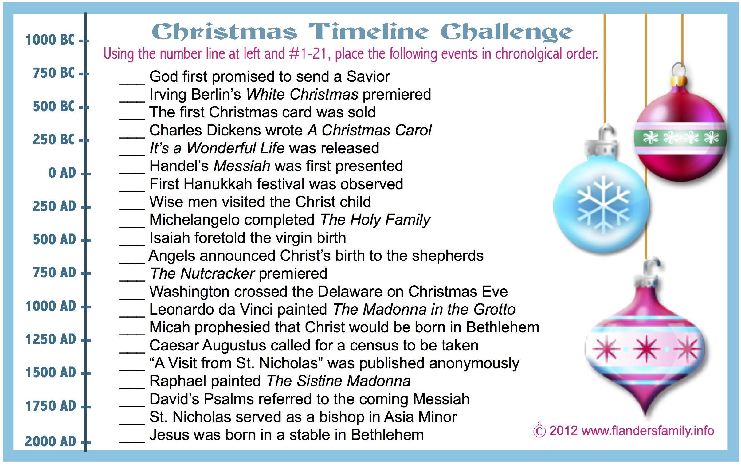 Christmas Timeline Challenge (Free Printable) Christmas