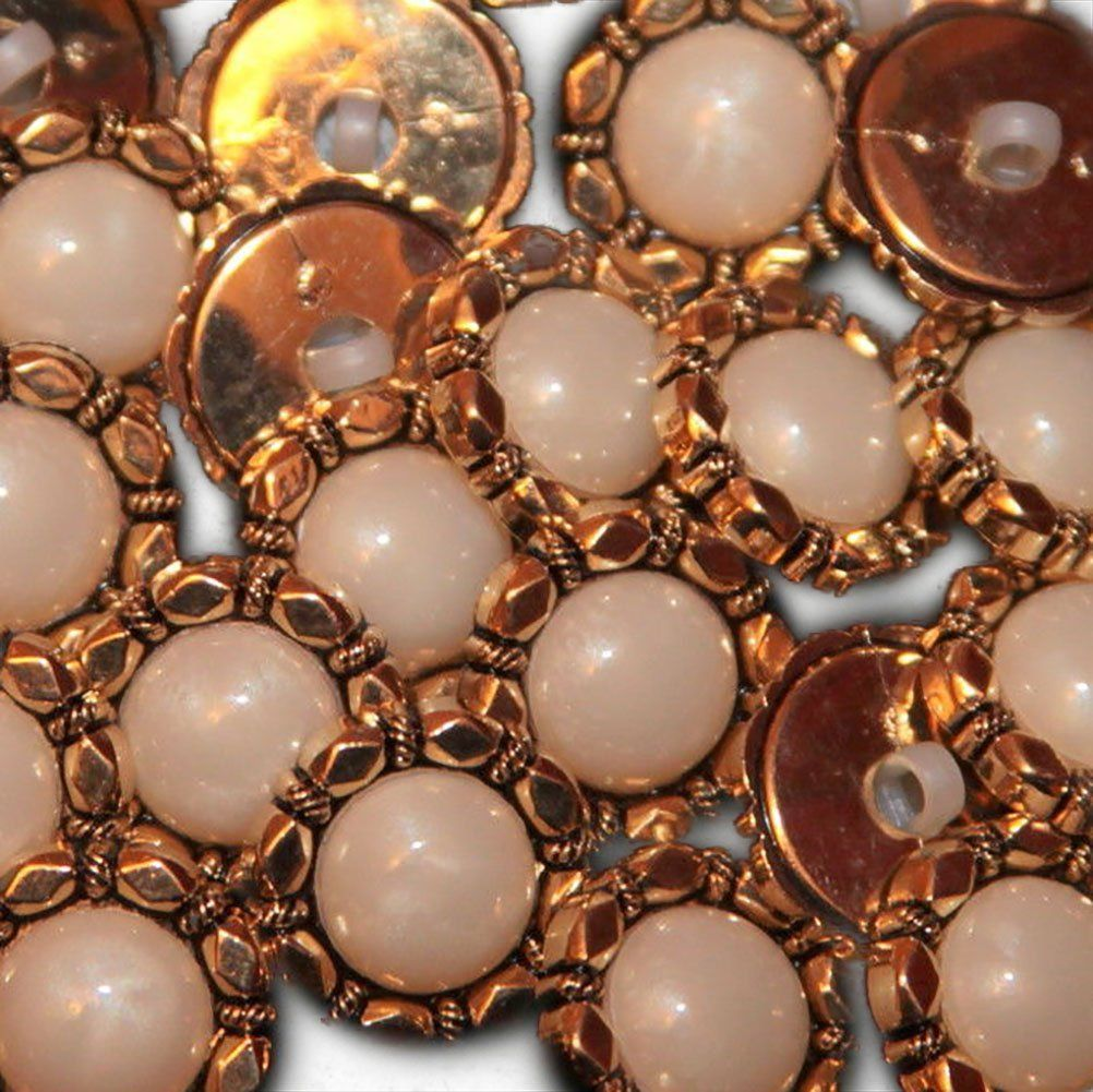 Fancy and Decorative {20mm w/ 1 Back Hole} 12 Pack of Medium Size Round 'Popper Type Shank' Sewing and Craft Buttons Made of Plated Plastic w/ Antiqued Metallic Faux Pearl Detail Design {Gold and White} ** Visit the image link more details.