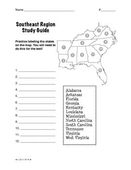 Regions of the United States: Southeast, Study Guide (5 Regions ...