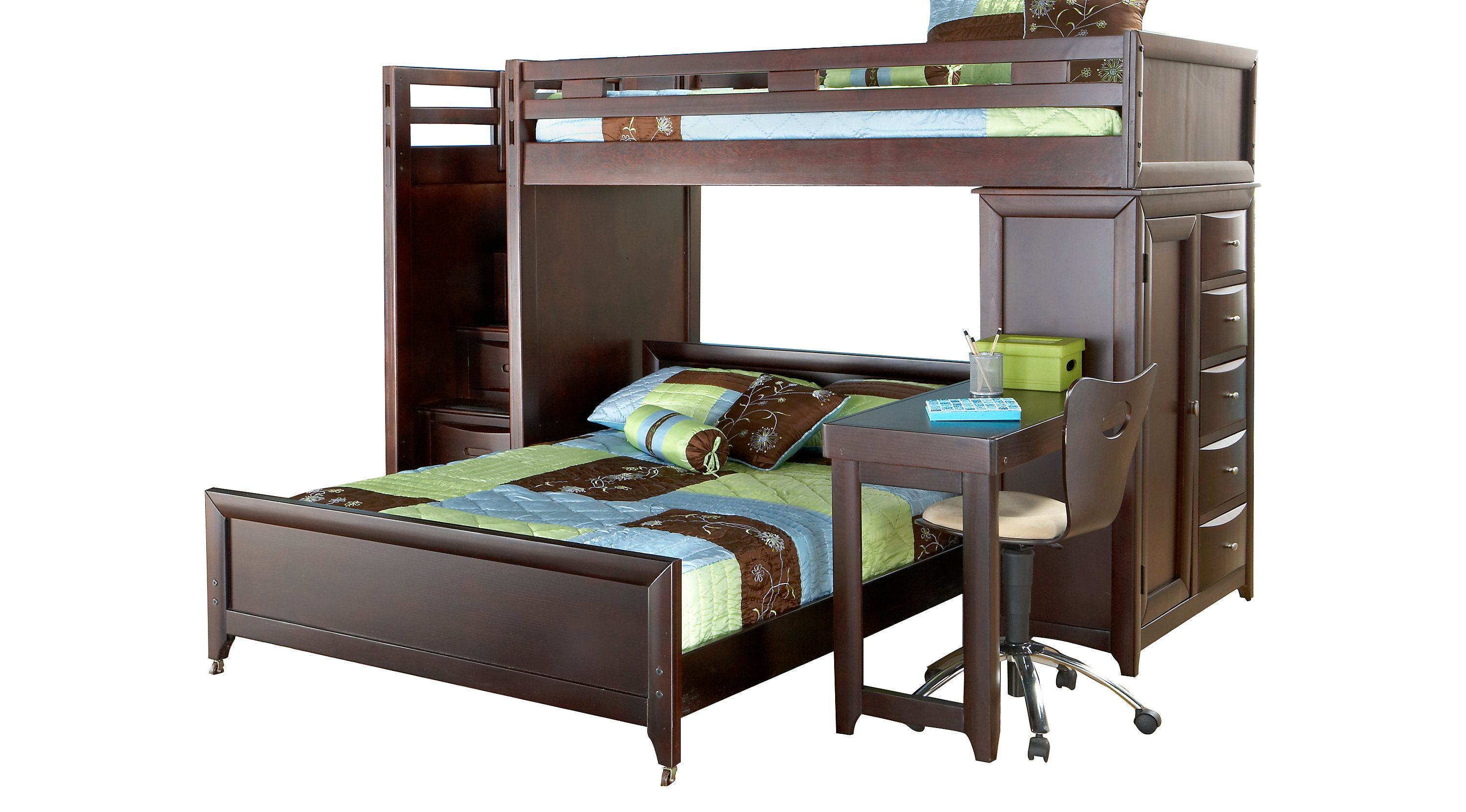Bunk Bedroom Sets Rooms To Go Ivy League Cherry Twin Full Step Loft Bunk With Chest And Desk 3753280p Loft Bed For Boys Room Bunk Beds With Stairs Bunk Beds