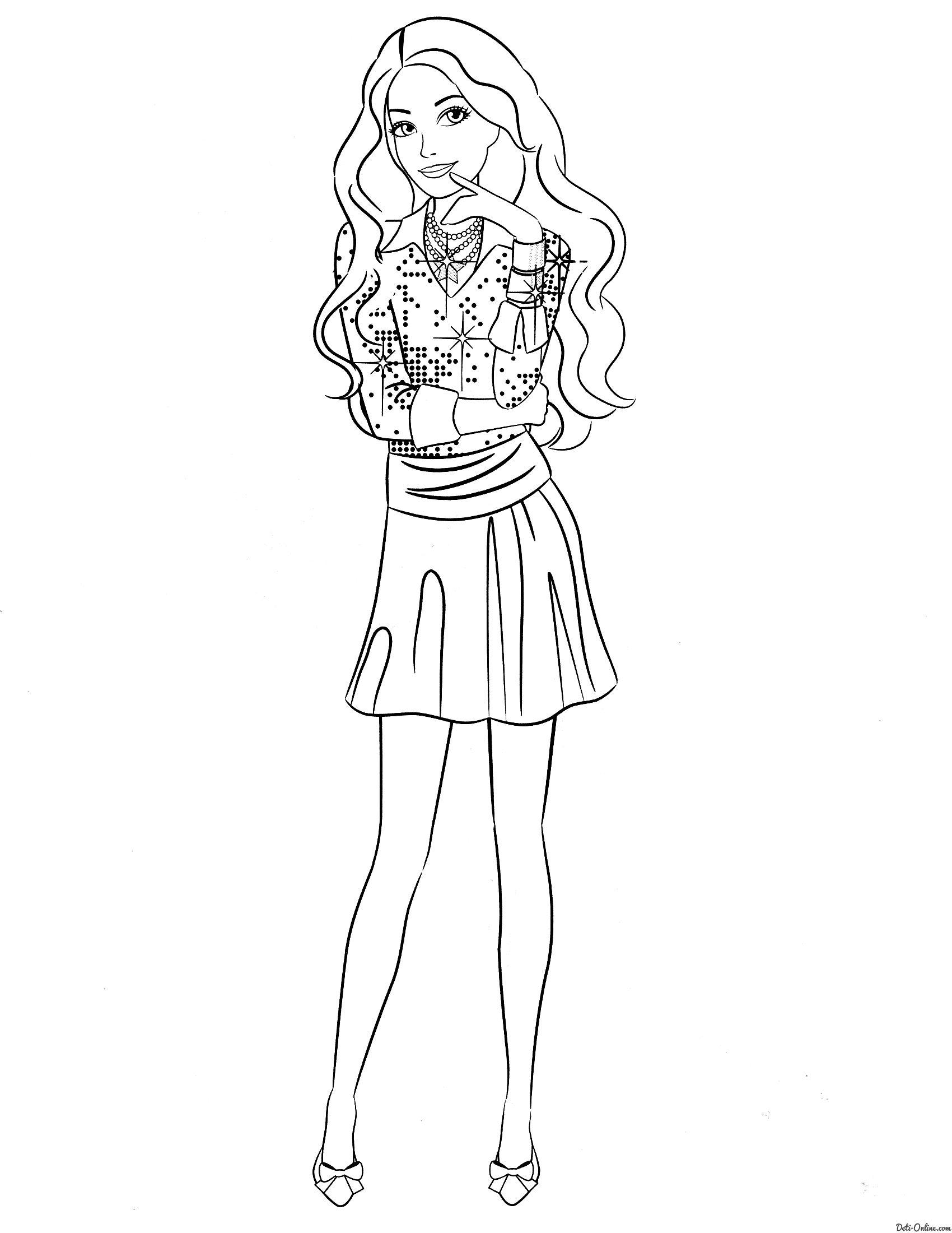 Раскраска Задумчивая Барби | Ausmalbilder Barbie | Pinterest ...