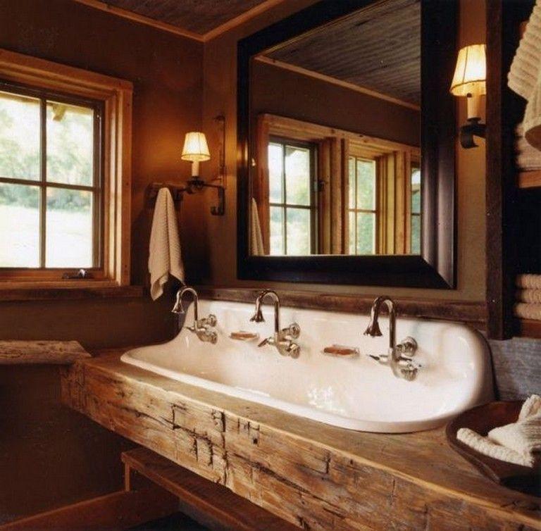 46 Gorgeous Rustic Bathroom Storage Ideas Rustic Cabin Bathroom