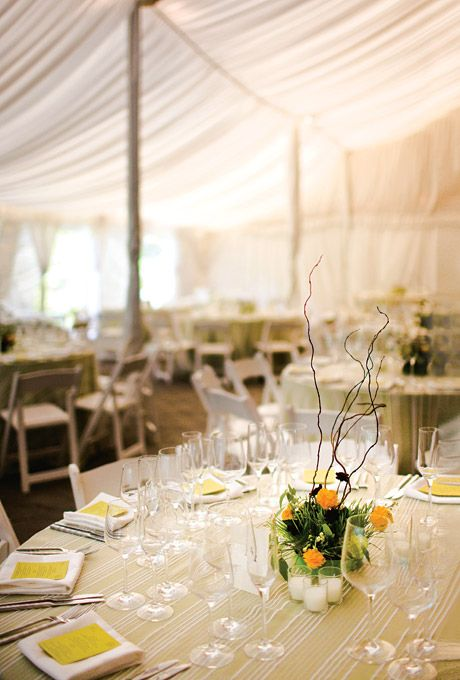 Tented Wedding Reception With Simple Modern Decor