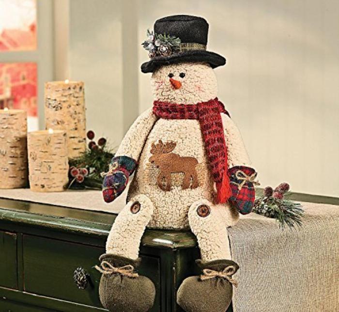 Plush Sitting Snowman with Moose Scott\u0027s Marketplace Giftlist - moose christmas decorations