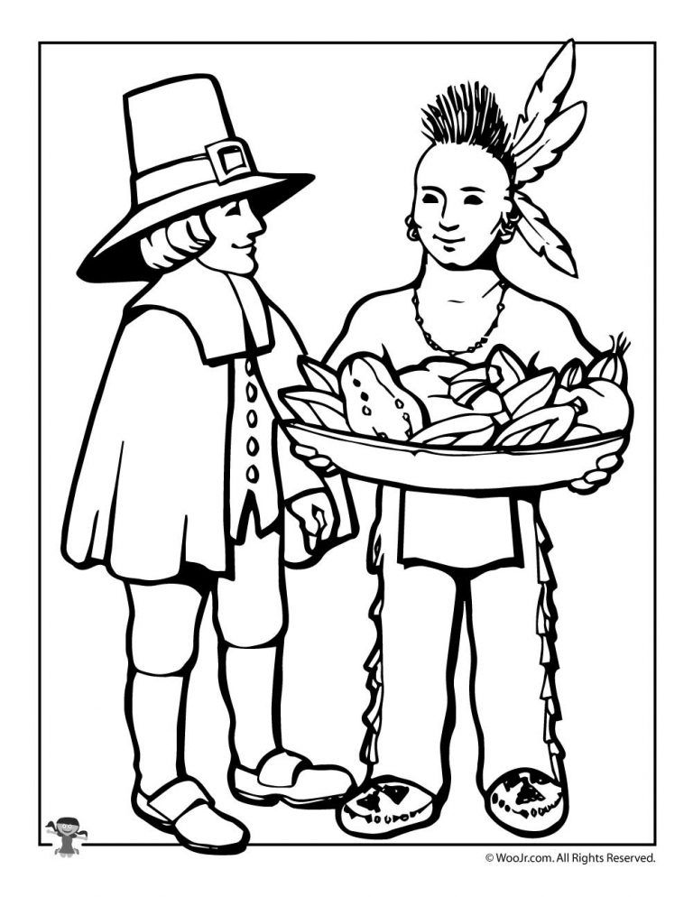 Pilgrim & Indian Coloring Page Thanksgiving coloring