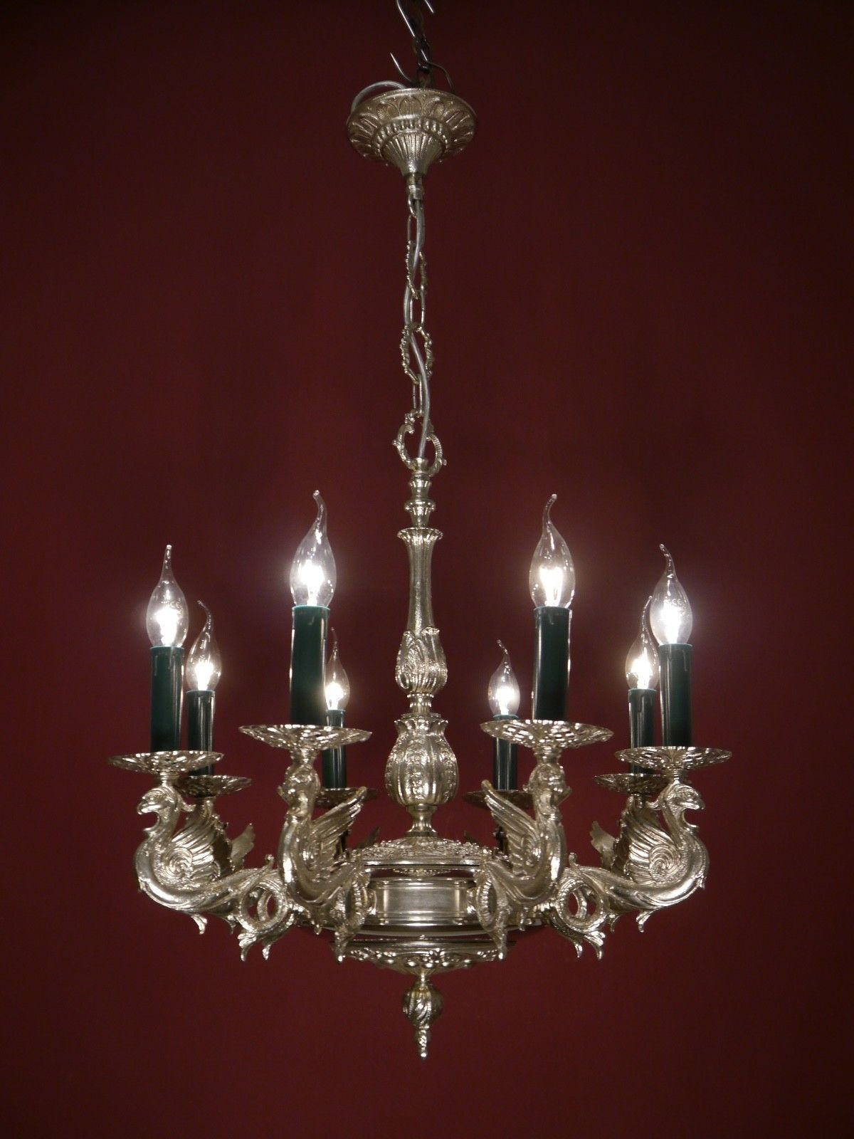 DRAGON NICKEL CHANDELIER SILVER GREEN CANDLE VINTAGE LAMP OLD