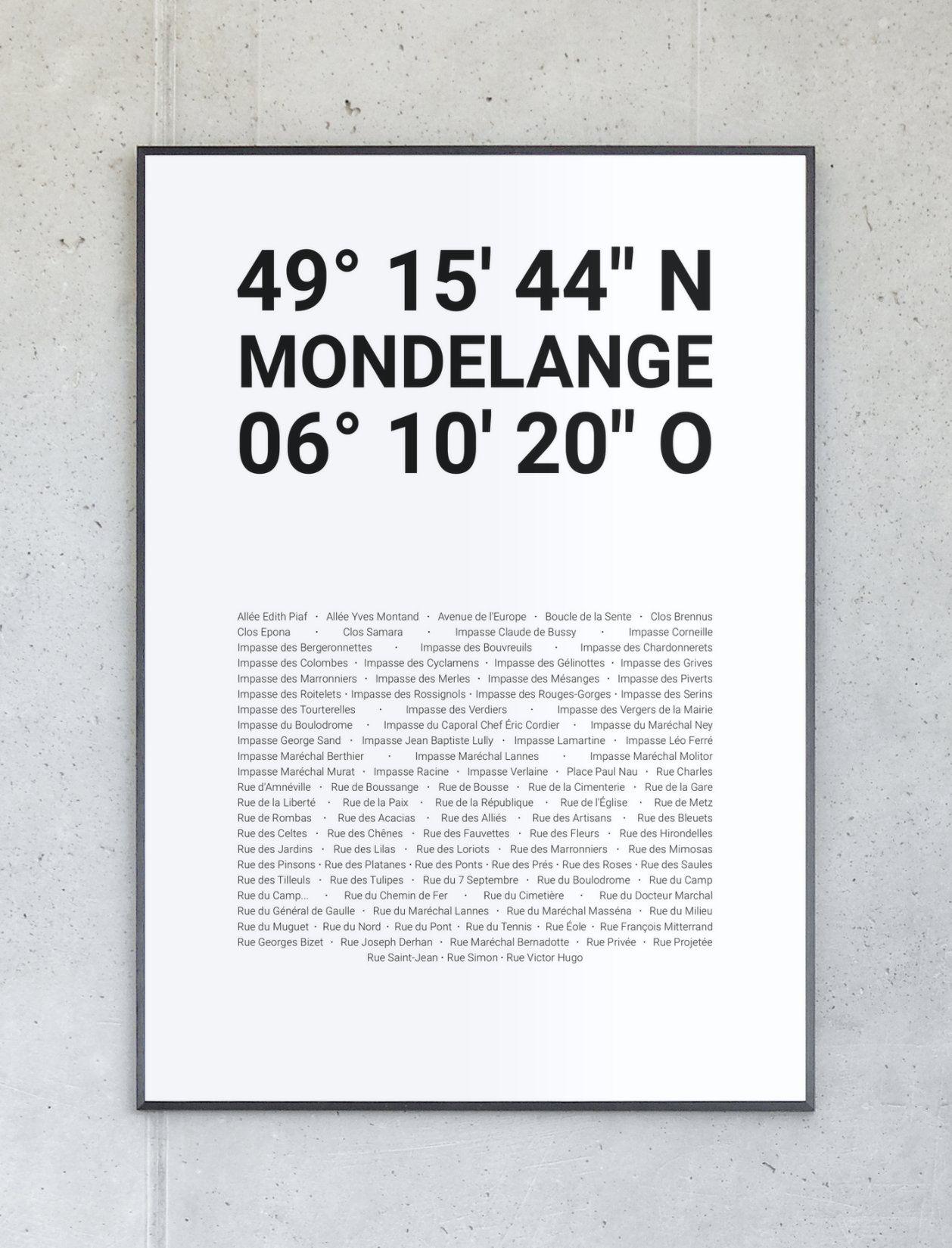 Koordinatenposter von Mondelange – Komplett personalisierbar.
