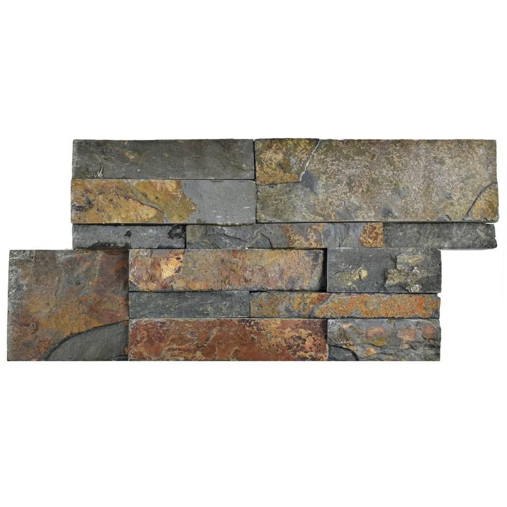 Merola Tile Ledger Panel Rusty Slate 7 In X 13 1 2 In Natural Stone Wall Tile 6 Cases 31 5 Sq Ft Pallet Rusty Slate Low Sheen Natural Stone Wall Wall Tiles Slate Wall Tiles