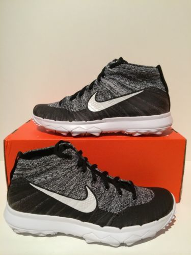 843c4bb98d31d New Women s Nike Flyknit Chukka Golf Shoes Oreo Black White Size 9 819006  001
