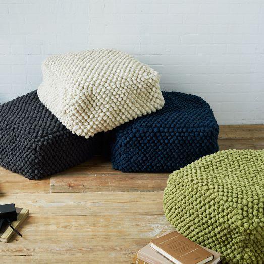Basement.  Bubble Knit Pouf | west elm