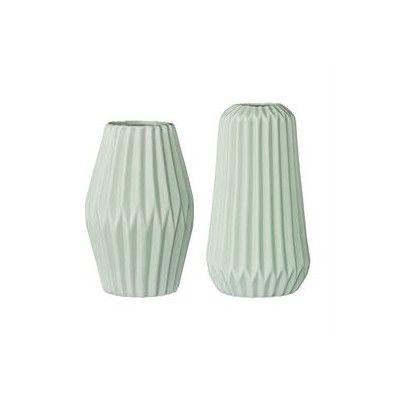 Bloomingville 2 Piece Ceramic Fluted Vase Set Color Mint Products