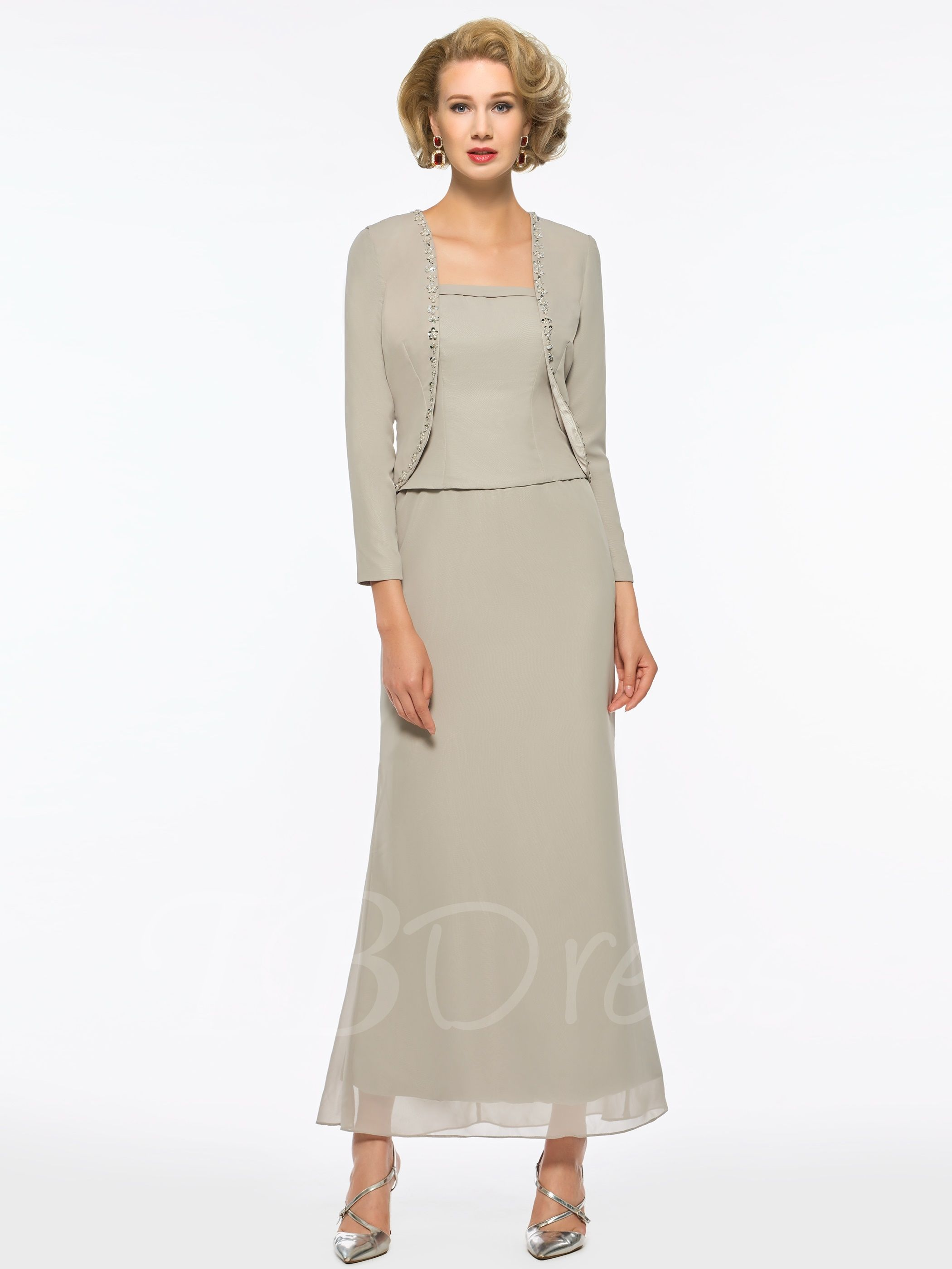 Beaded Sheath AnkleLength Mother of the Bride Dress with