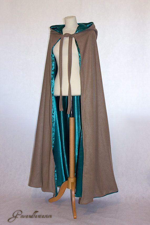 Fur Large Collar Cape Medieval Cape Viking Cloak Fur Collar Cloak Emerald Green cloak Wasteland