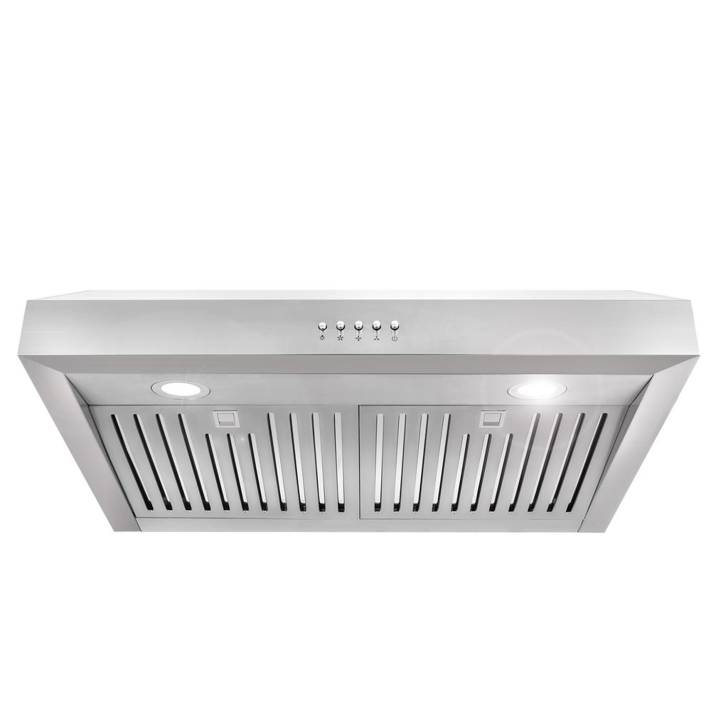 Cosmo 30 In Ducted Under Cabinet Range Hood In Stainless Steel With Led Lighting And Permanent Filters Uc30 The Home Depot In 2020 Range Hood Under Cabinet Range Hoods Kitchen Ventilation